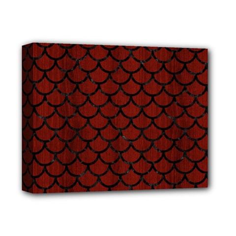 Scales1 Black Marble & Reddish Brown Wood Deluxe Canvas 14  X 11