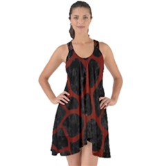 Skin1 Black Marble & Reddish Brown Wood Show Some Back Chiffon Dress