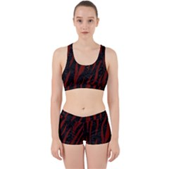Skin3 Black Marble & Reddish Brown Wood (r) Work It Out Sports Bra Set