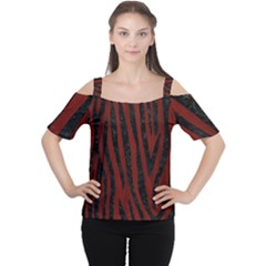 Skin4 Black Marble & Reddish Brown Wood (r) Cutout Shoulder Tee