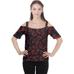 Skin5 Black Marble & Reddish Brown Wood Cutout Shoulder Tee
