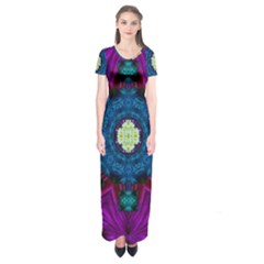 Sunshine Mandala And Fantasy Snow Floral Short Sleeve Maxi Dress