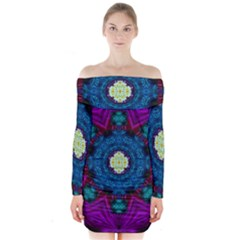 Sunshine Mandala And Fantasy Snow Floral Long Sleeve Off Shoulder Dress