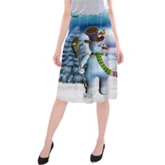 Funny, Cute Snowman And Snow Women In A Winter Landscape Midi Beach Skirt