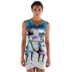 Funny, Cute Snowman And Snow Women In A Winter Landscape Wrap Front Bodycon Dress