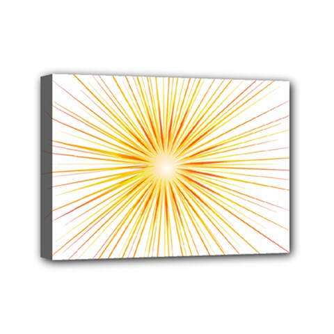 Fireworks Light Yellow Space Happy New Year Red Mini Canvas 7  X 5