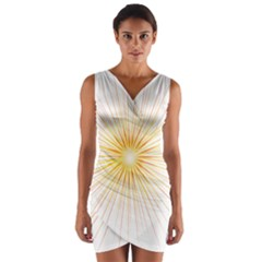 Fireworks Light Yellow Space Happy New Year Red Wrap Front Bodycon Dress