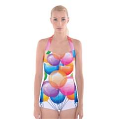 Birthday Happy New Year Balloons Rainbow Boyleg Halter Swimsuit