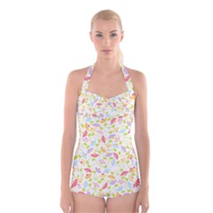 Flower Rainbow Sexy Leaf Plaid Vertical Horizon Boyleg Halter Swimsuit