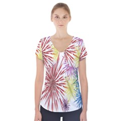 Happy New Year City Semmes Fireworks Rainbow Red Blue Yellow Purple Sky Short Sleeve Front Detail Top
