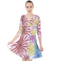 Happy New Year City Semmes Fireworks Rainbow Red Blue Yellow Purple Sky Quarter Sleeve Front Wrap Dress