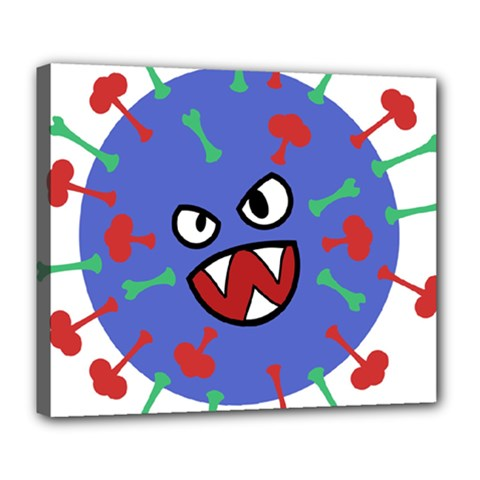Monster Virus Blue Cart Big Eye Red Green Deluxe Canvas 24  X 20