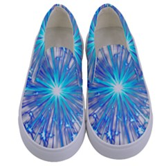 Fireworks Sky Blue Silver Light Star Sexy Kids  Canvas Slip Ons
