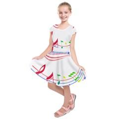 Rainbow Red Green Yellow Music Tones Notes Rhythms Kids  Short Sleeve Dress