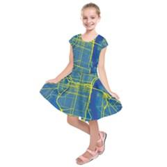 Philadelphia New York Map Art City Kids  Short Sleeve Dress
