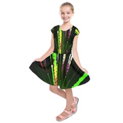 Seamless Colorful Green Light Fireworks Sky Black Ultra Kids  Short Sleeve Dress