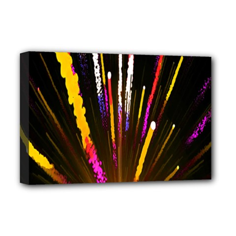 Seamless Colorful Light Fireworks Sky Black Ultra Deluxe Canvas 18  X 12