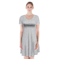 Line Black White Camuflage Polka Dots Short Sleeve V Neck Flare Dress