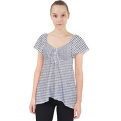 Line Black White Camuflage Polka Dots Lace Front Dolly Top