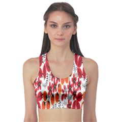 Rose Flower Red Orange Sports Bra