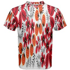 Rose Flower Red Orange Men s Cotton Tee