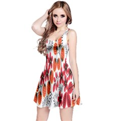 Rose Flower Red Orange Reversible Sleeveless Dress