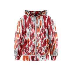 Rose Flower Red Orange Kids  Zipper Hoodie