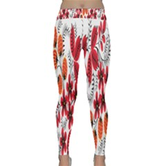 Rose Flower Red Orange Classic Yoga Leggings