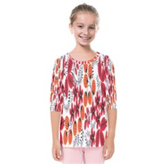 Rose Flower Red Orange Kids  Quarter Sleeve Raglan Tee
