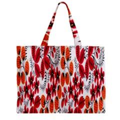 Rose Flower Red Orange Zipper Mini Tote Bag