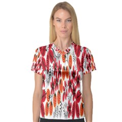 Rose Flower Red Orange V Neck Sport Mesh Tee