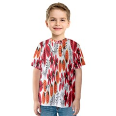 Rose Flower Red Orange Kids  Sport Mesh Tee