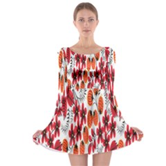 Rose Flower Red Orange Long Sleeve Skater Dress