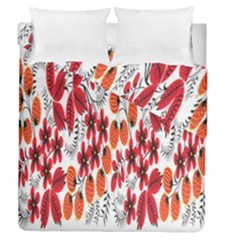 Rose Flower Red Orange Duvet Cover Double Side (queen Size)