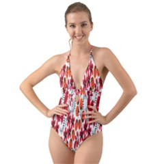 Rose Flower Red Orange Halter Cut Out One Piece Swimsuit