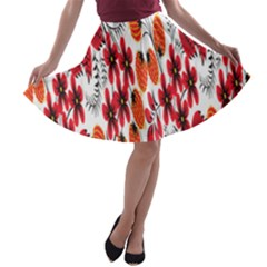 Rose Flower Red Orange A Line Skater Skirt