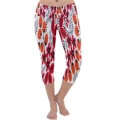 Rose Flower Red Orange Capri Yoga Leggings
