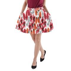 Rose Flower Red Orange A Line Pocket Skirt