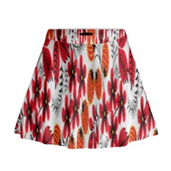 Rose Flower Red Orange Mini Flare Skirt