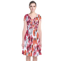 Rose Flower Red Orange Short Sleeve Front Wrap Dress