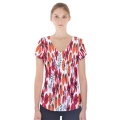 Rose Flower Red Orange Short Sleeve Front Detail Top
