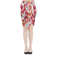 Rose Flower Red Orange Midi Wrap Pencil Skirt