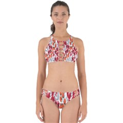 Rose Flower Red Orange Perfectly Cut Out Bikini Set
