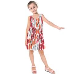 Rose Flower Red Orange Kids  Sleeveless Dress