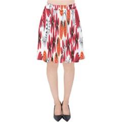 Rose Flower Red Orange Velvet High Waist Skirt