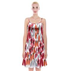 Rose Flower Red Orange Spaghetti Strap Velvet Dress