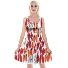 Rose Flower Red Orange Reversible Velvet Sleeveless Dress