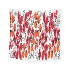 Rose Flower Red Orange Square Tapestry (small)