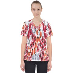Rose Flower Red Orange Scrub Top