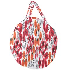 Rose Flower Red Orange Giant Round Zipper Tote